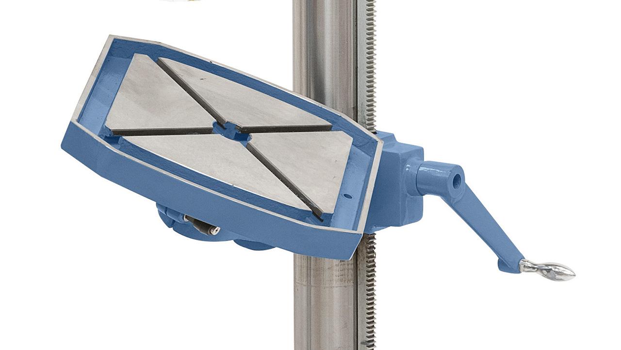 Der Arbeitstisch ist um 360° drehbar, ideal zum Koordinatenbohren.