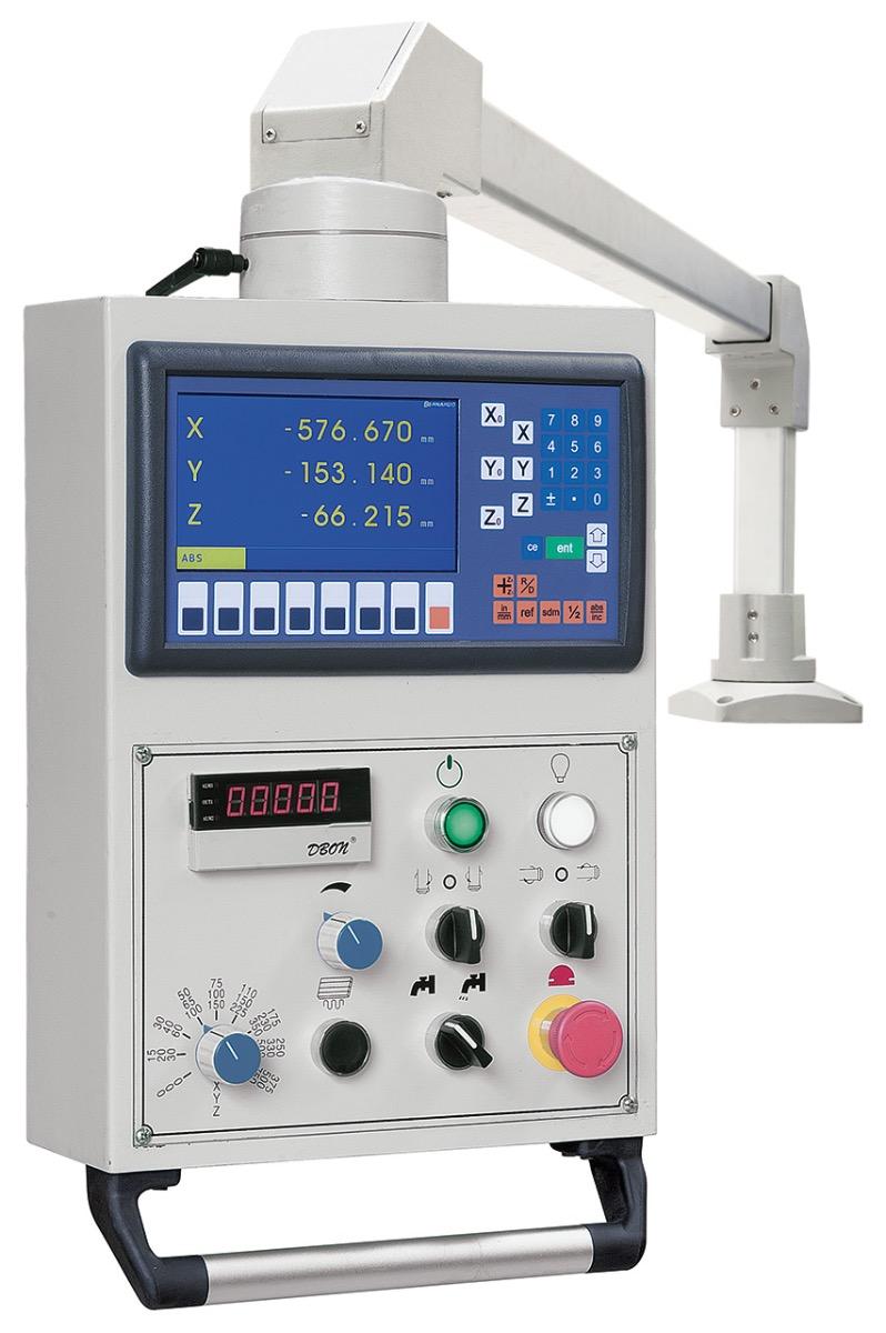 Variable Drehzahleinstellung der Vertikalspindel mittels Frequenz-umrichter.
