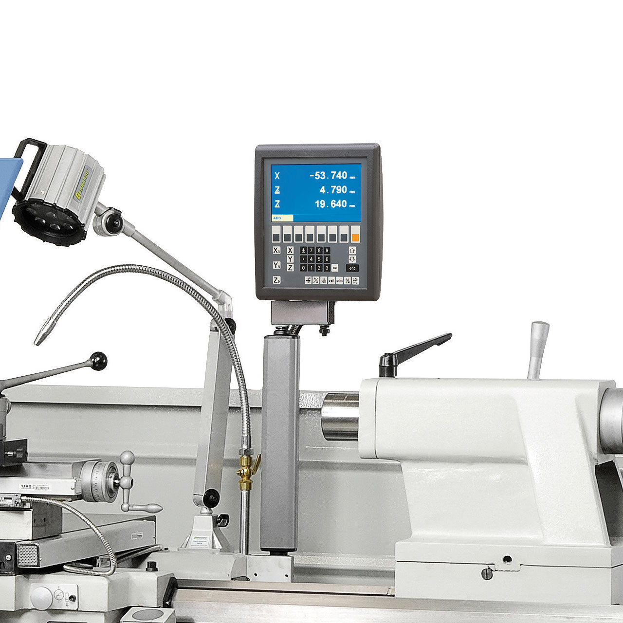 Zur Reduzierung der Fertigungszeiten ist die Maschine mit einer digitalen Positionsanzeige ausgerüstet (Ablesegenauigkeit 0,005 mm).