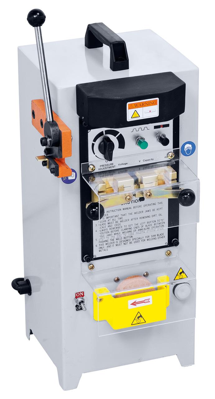 Bandschweißgerät SG 316 separat lieferbar. Angetriebener Schleifstein und Schneidvorrichtung im Lieferumfang enthalten.