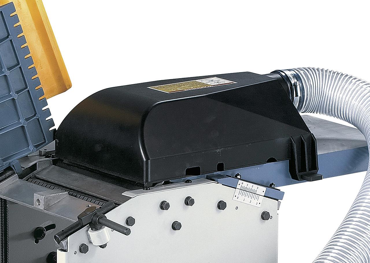 Kombinierte Späneauswurfhaube verwendbar zum Abrichten und Dickenhobeln.
