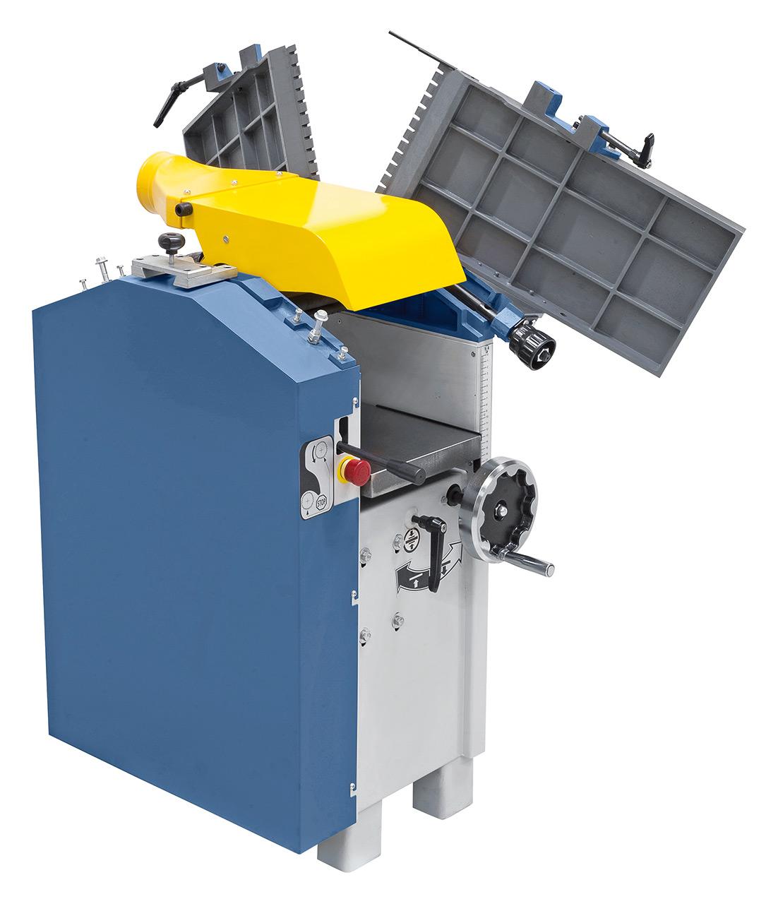 Die hochklappbaren Abrichttische ermöglichen beim Dickenhobeln ein optimales und sicheres Arbeiten, auch bei kurzen Werkstücken