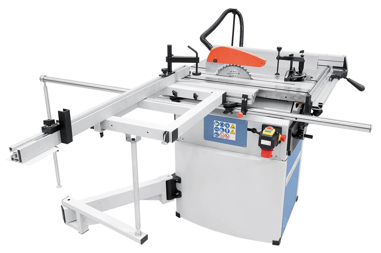 Der leichtgängige Schiebeschlitten ist zusätzlich mit einem Schwenkarm abgestützt, wodurch das Bearbeiten von großen Platten ermöglicht wird.