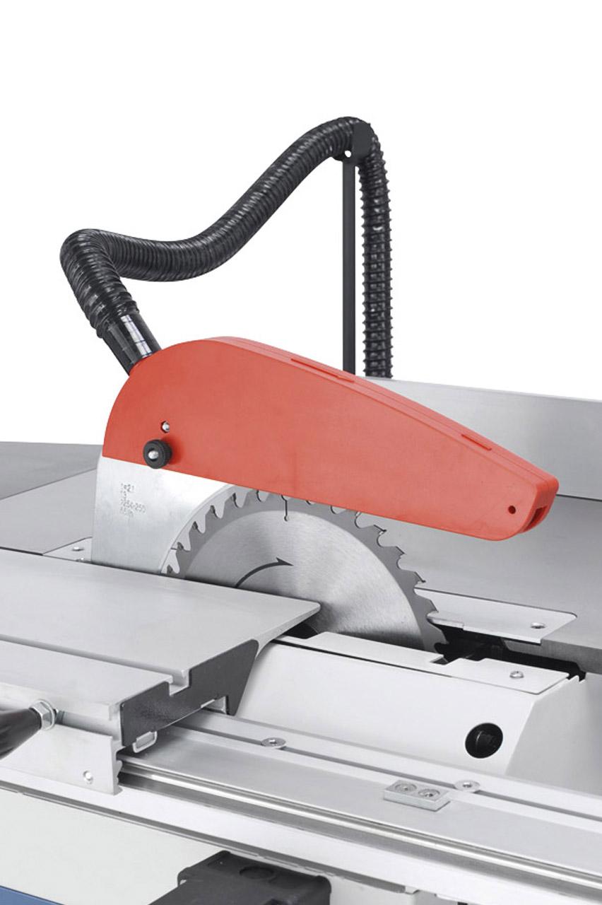 Der Sägeblattschutz mit  integriertem Absaugstutzen  ist am Spaltkeil befestigt.