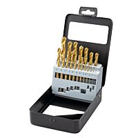19 pcs. set TIN-coated HSS drills